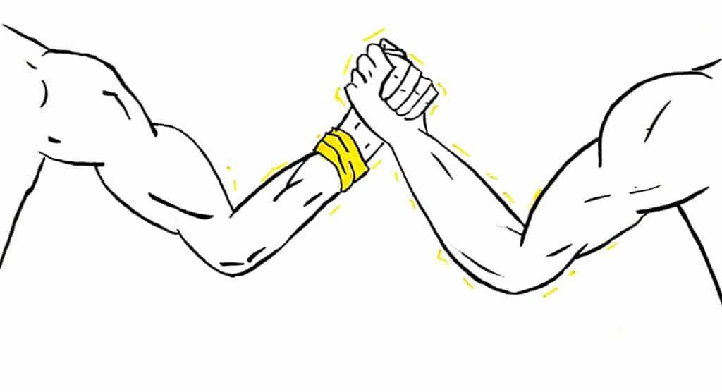 dessin de bras de fer pour illustrer les exercices pratiques de gestion de conflits en entreprise